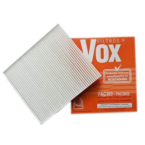 Filtro Ar Condicionado Vox FAC303 - Fox, Polo, Gol, Spacefox